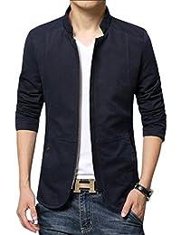 Men's Basic Mandarin Collar Zip Lightweight Fitted Cotton Jacket
