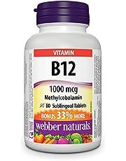 Webber Naturals Vitamin B12 Methylcobalamin, Quick Dissolve Tablet, 1,000 mcg, 80 Count