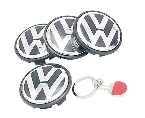 Wheel Center Hub Caps 65mm Wheel Hub Cover Replacements Logo Badge Emblem for VW P/N:3B7 601 171, Sets of 4PCS