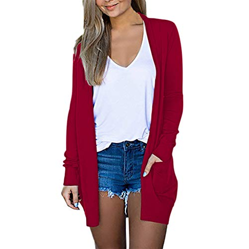 FANGTION Womens Ladies Solid V-Neck Cardigan Long Sleeve Coat Pockets Outerwear Red