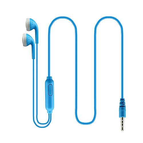 有線 3.5mmイヤホン ヘッドホン 高音質 重低音 ステレオヘッドセット ノイズキャンセリング 通勤 軽量 快適 おしゃれ タブレット MP3/4 Android スマホ対応 リモコン付き スポーツイヤホン(青)