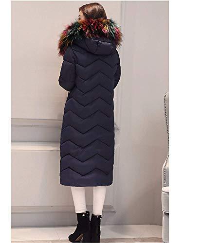 Con Piumini Donna Addensare Cappuccio P Fashion Lunghe In Invernale Lanceyy Blau Caldo Parka qRwOw8