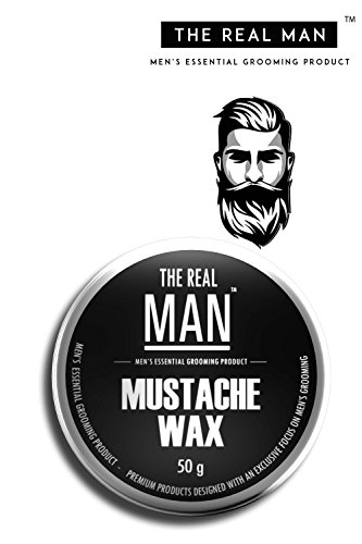 Mustache Wax with All Natural- Almond Oil   Jojoba Oil   Olive Oil   Sunflower Oil   Fragrances with Bees Wax  Shea Butter   Coco Butter 100% Organic : Extra Strength, Firm Hold 50g by THE REAL MAN.