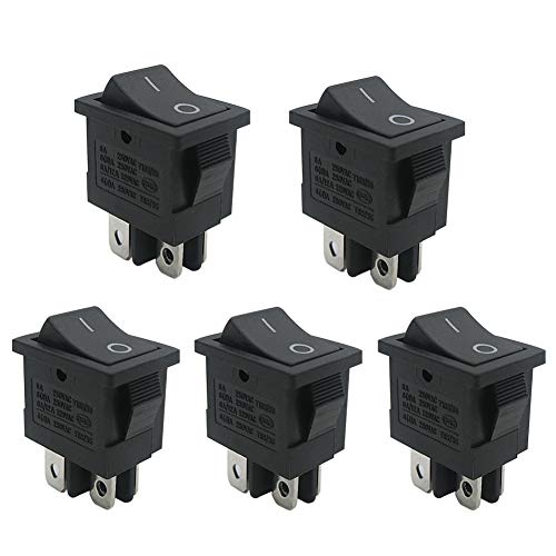 mxuteuk 5pcs Snap-in Boat Rocker Switch Toggle Power DPST ON-OFF 4 Pin AC 250V 6A 125V 10A, Use for Car Auto Boat Household Appliances 1 Years Warranty MXU1-4-201