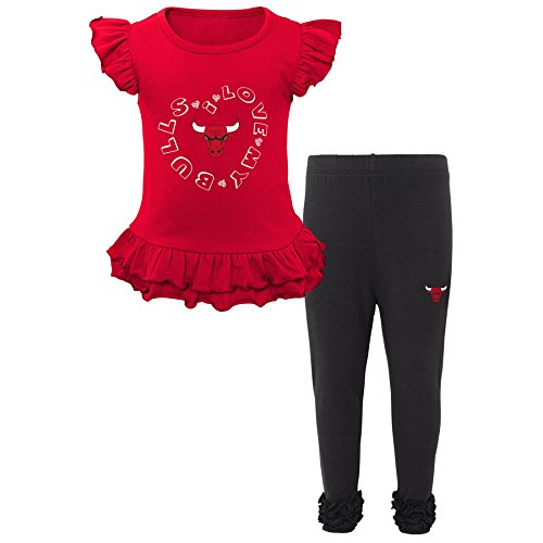 "NBA Toddler ""Team Love"" Ruffle Shirt and Pant Set Chicago Bulls-Red-4T"