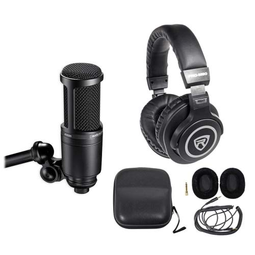 - Audio Technica AT2020 Studio Microphone-Cardioid Condenser Mic + Headphones