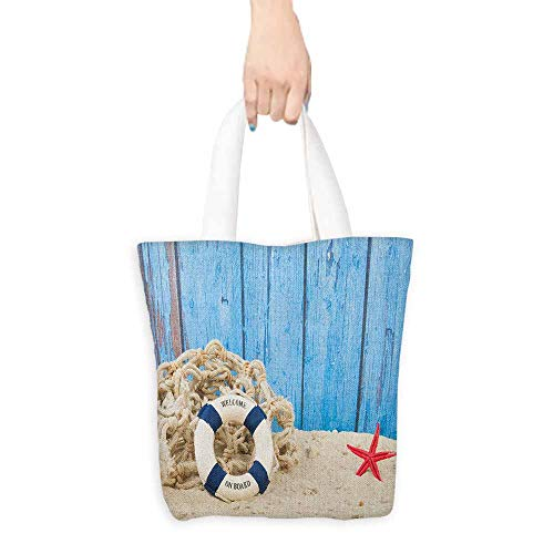 - Shopping work bag Buoy Life Buoy with Welcome Message on Beach Coastline Vintage Style Picture Print Cosmetic bag 16.5