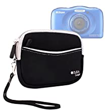 High Quality Water-Resistant Neoprene Case with Front Zip Compartment in Black for NEW Nikon CoolPix AW130 / CoolPix S33 (2015 Release) - by DURAGADGET