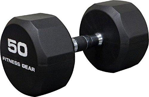 Fitness Gear 50 lb Rubber Hex Dumbbell