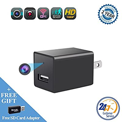 Mini spy camera USB charger by WEMLB -1080p HD hidden camera, WIFI Wireless wall plug USB Charger [Motion Detection, AC Adapter, Remote App Control] Nanny camera |Home, Kids, Baby, Pet monitoring by WEMLB