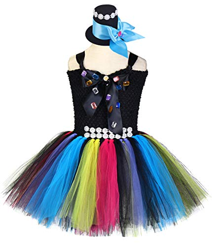 Tutu Dreams Halloween Mad Hatter Costumes for Toddler Girls 80s Vintage Rainbow Tutu Dress (Mad Hatter, Medium(3-4 Years))