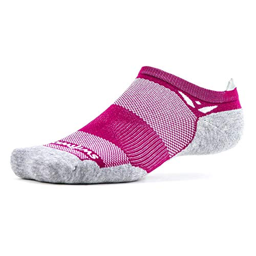 Tab Red Relaxed Fit - Swiftwick - MAXUS ZERO Tab | Socks Built for Running, Walking, Golf | Maximum Cushion, Relaxed Compression, No Show | Berry, Small