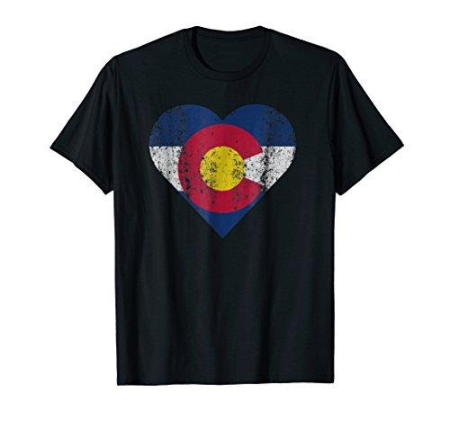 State of Colorado Flag T Shirt Heart Womens Kids Novelty Tee