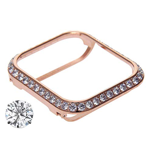HJIN 3.0mm Bling spakling Bling Rhinestone Diamond Zircon Crystal case Cover Bezel Handwork Inlaid Compatible Apple Watch Series 4 Series 3 2 1 (Rose Gold, 44mm)