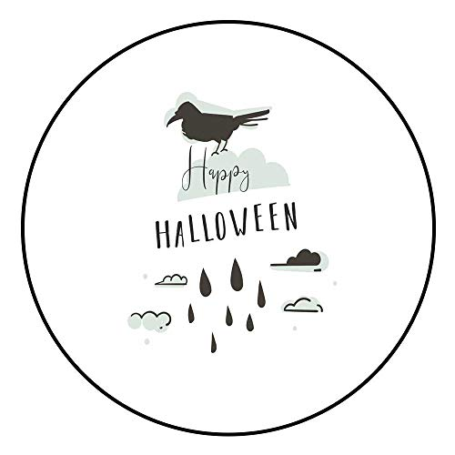 Hua Wu Chou Round Splat matfire Pit mat Round D3'/0.9m Hand Drawn Vector Abstract Cartoon Happy Halloween Illustrations Party Design Elements with Raven and Modern Calligraphy Quote Hap]()