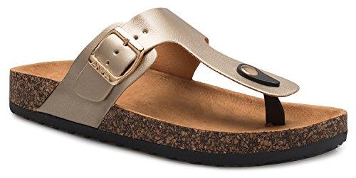 OLIVIA K Women's Casual Buckle T Strap Thong Strap Sandals Flip Flop Platform Footbed ()
