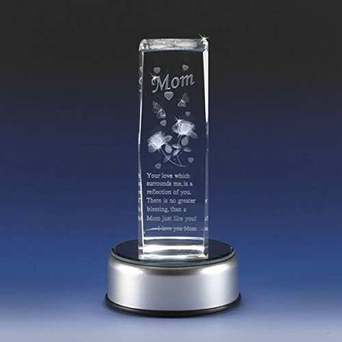 3D Glass Laser Cube with Mom Poem and Roses