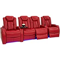 Seatcraft Delta Leather Home Theater Seating Power Recline with Adjustable Power Headrests and SoundShaker (Row of 4 with Middle Loveseat, Red)