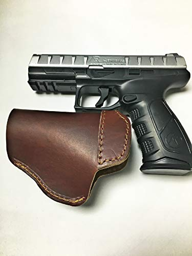 Leather IWB Holster, CCW Leather Concealed Carry Holster for Smith & Wesson S&W M&P Shield, Glock 17 19 22 23 32 33, Springfield XD vs XDS Plus All Similar Sized Handguns (Brown) (M And P Shield Vs Glock 19)