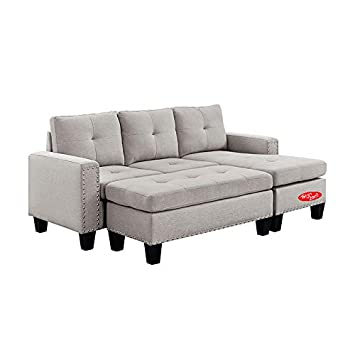 Amazon Com Sectional Sofa With Chaise And Ottoman 4 Pieces Set
