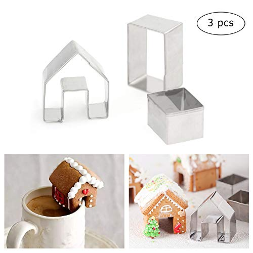 3Pcs Christmas House Cookie Cutter Set, Mini Ginger House Stainless Steel Cookie Cutter, Chocolate Little House Biscuit Mold, DIY Baking Decorating Tools -