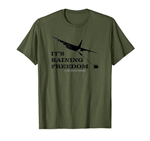 Mens AC-130 Spectre Gunship It's Raining Freedom T Shirt Medium Olive (Ac 130 Gunship)