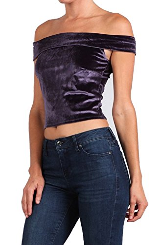 Simply Savvy Co USA Short Long Sleeve Sleeveless Regal Velvet Crop top More Colors (Small, Purple_Short) -