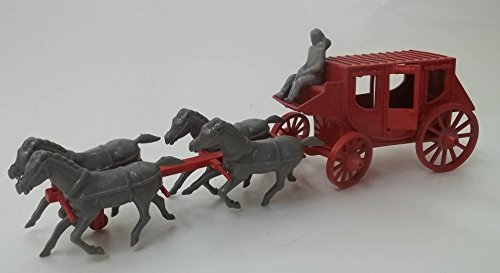 Cowboys horses 2 stagecoaches covered wagon open wagon riders 4 bandits 1950s