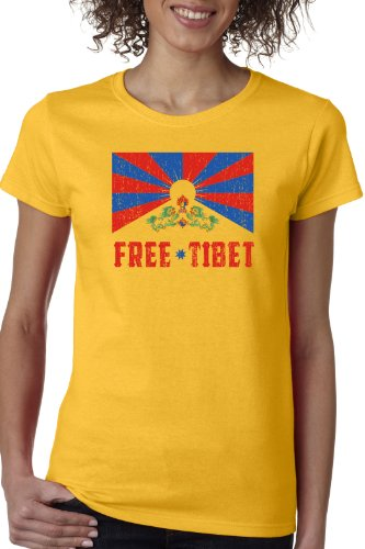 FREE TIBET Ladies' T-shirt / Vintage Look Tibetian Peace Freedeom Tee Shirt