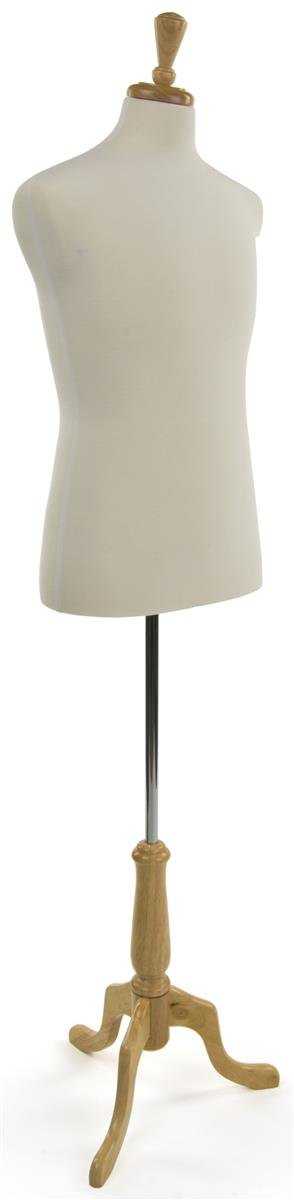 Displays2go Size 38 Male Mannequin Dress Form with Natural Tripod Base GEP3O DFLM38NWB