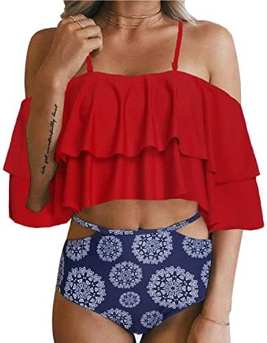 Tempt Me Women Two Piece Off Shoulder Ruffled Flounce Crop Bikini Top with Print Cut Out Bottoms