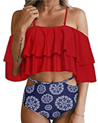 Wherever on the beach, Hawaii, Honeymoon, Sunbathing, white tiered ruffled crop flounce top matches with printed and polka dot high waist bottoms, which are fabulous and attractive. The flexible straps linked with bottoms, greatly embellishin...