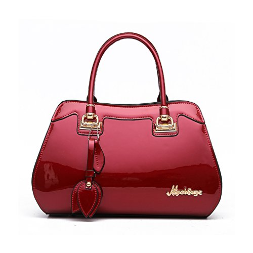 Vino bolsa messenger bag Mujer bolsos bolso moda Tinto Tisdaini grande mano hombro bolso charol FBAWC