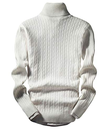 Jotebriyo Men's Casual Long Sleeve Turtleneck Ribbed Cable Knit Pullover Sweater White XL