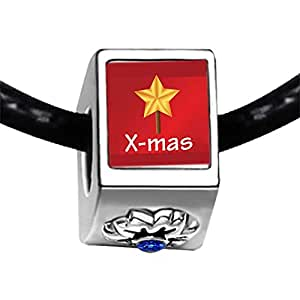 Chicforest Silver Plated Red With Xmas Star Photo Sapphire Crystal September Birthstone Flower Charm Beads Fits Pandora Bracelets