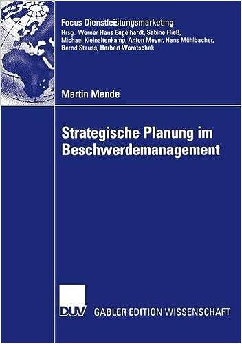 Book Strategische Planung im Beschwerdemanagement (Fokus Dienstleistungsmarketing)