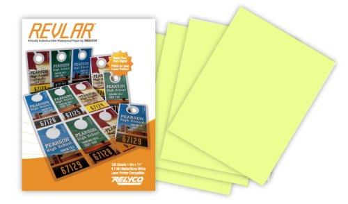 REVLAR(TM) Waterproof Laser Printer Paper 8.5x11'' 5mil Pastel YELLOW (100 sheets)