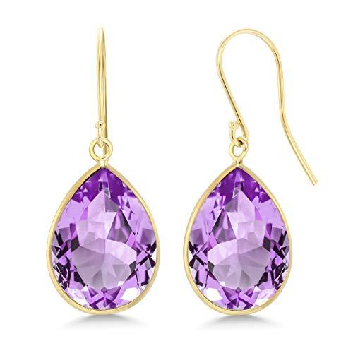 Gem Stone King 14K Yellow Gold Purple Amethyst Earrings 13.00 Cttw Jewelry Gemstone Birthstone 12X16MM Pear Shape 1 Inch