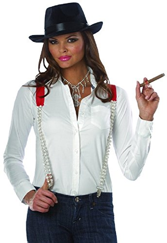 Red Rhinestone Suspenders Gangster Pimp Costume Glamour Punk