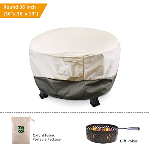 MIXC Waterproof Round Fire Pit Cover 36 inch Heavy Duty Outdoor Furniture Covers Patio Garden Fire Table Cover with Poker, UV and Weather Resistant (Height Fire Pit Table)