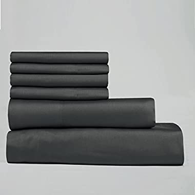 Lavish Lux Hotel Collection 400 Thread Count 100 % Cotton Sateen 6 PC Sheet sets By Cambay Linens,Queen, Charcoal-6 Piece Set