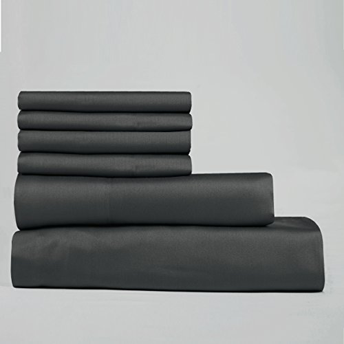Cambay Linens 400 Thread Count Cotton Sateen King Sheet Set, Charcoal (Set of 6)