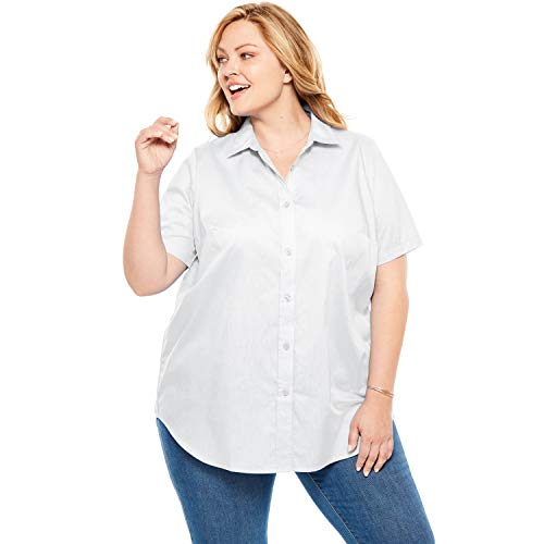 Woman Within Women's Plus Size Perfect Short Sleeve Button Down Shirt ()