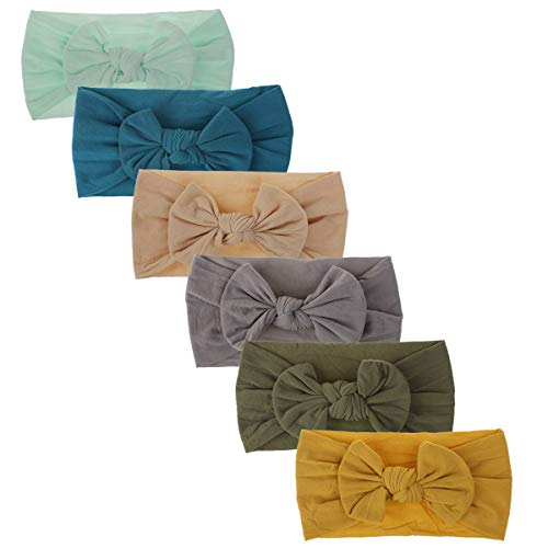 Baby Nylon Knotted Headbands Girls HeadWraps Newborn Infant Toddler Hairbands and Bows (Multicolor-NN81) (Best Baby Registry Websites)