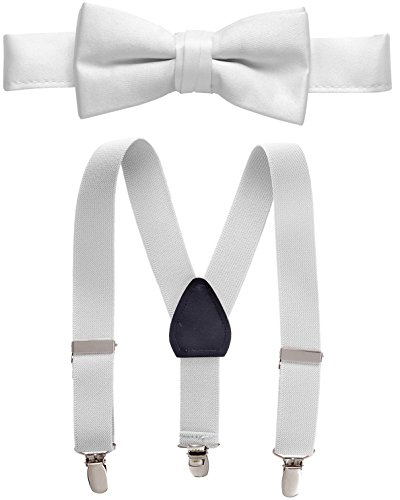 (Hold'Em Suspender and Bow Tie Set for Kids, Boys, and Baby -White 22