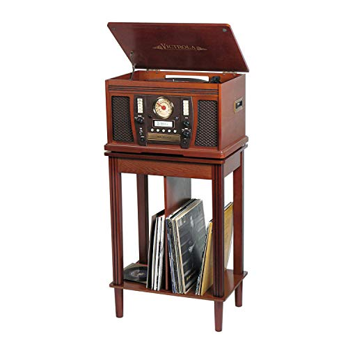Victrola Wood 7-in-1 Nostalgic Bluetooth Record Player with CD Encoding and 3-Speed Turntable with Storage Stand
