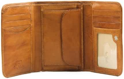 Tony Perotti Mens Italian Cow Leather [Personalized Initials Embossing] Trifold Clutch Wallet with ID and Coin Pouch