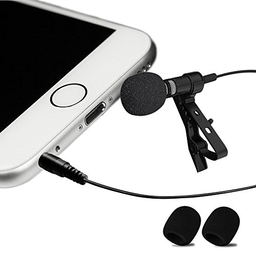 Professional #1 Best Lavalier Lapel Microphone Omnidirectional Condenser Mic for Apple IPhone Android & Windows Smartphones,Youtube,Interview,Studio,Video Recording,Noise Cancelling Mic Image