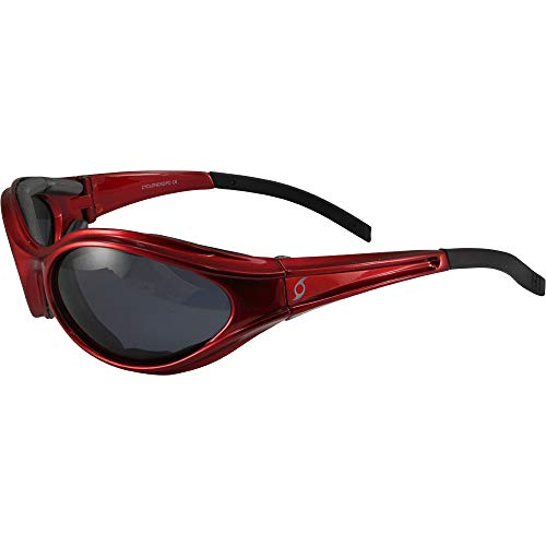 Hurricane Cyclone Sport Vented Foam Padded Riding Goggles Red with Polarized Smoke Lens