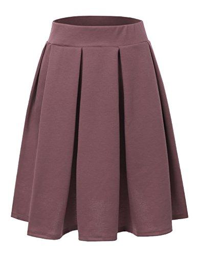 Doublju Elastic Waist Flare Pleated Skater Midi Skirt for Women with Plus Size DARKMAUVE Large